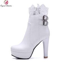 Первоначальное намерение женские ботильоны красивые Кружева Сапоги с квадратным каблуком и круглым носком черный, белый цвет КОРИЧНЕВЫЙ Обувь Женские американские Размер 4-13