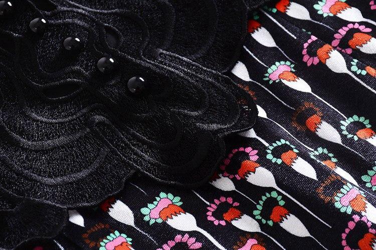 Patte Robe Bouton Noël Robes Longues Pan Noir Manches Femmes Col Blanc Casual Nouvel Mode De Broderie Peter À 2019 An ZUw0Hq8
