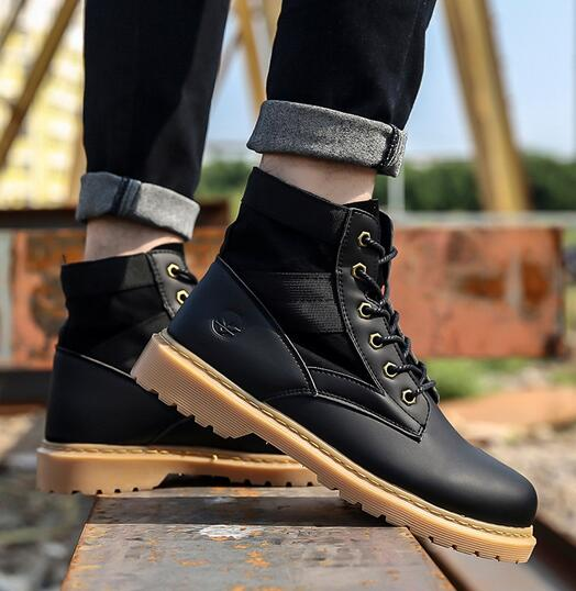 Autumn and winter new fashion handsome stitching high men's shoes casual outdoor non-slip tie trend men's boots