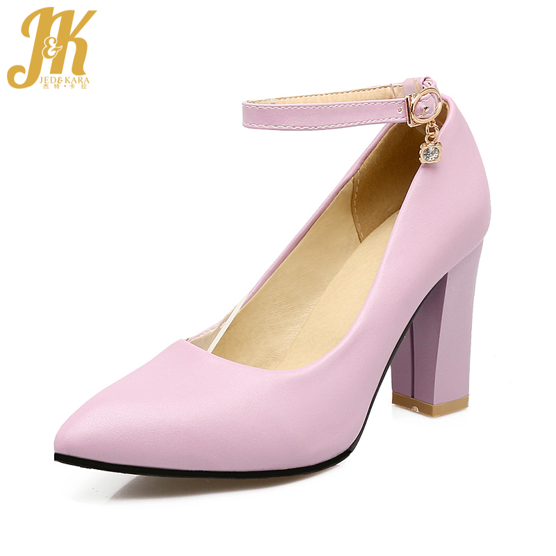 J&K Size 34-43 Elegant Pointed Toe Ankle Strap Women Pumps Fashion Thick High Heels Shoes Woman Casual All Match Shallow Pumps women flat sandals fashion ladies pointed toe flats shoes womens high quality ankle strap shoes leisure shoes size 34 43 pa00290