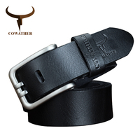 COWATHER 100 Cowhide Genuine Leather Belts Pin Buckle Male Belt Strap Top Quality Alloy Exquisite Jeans