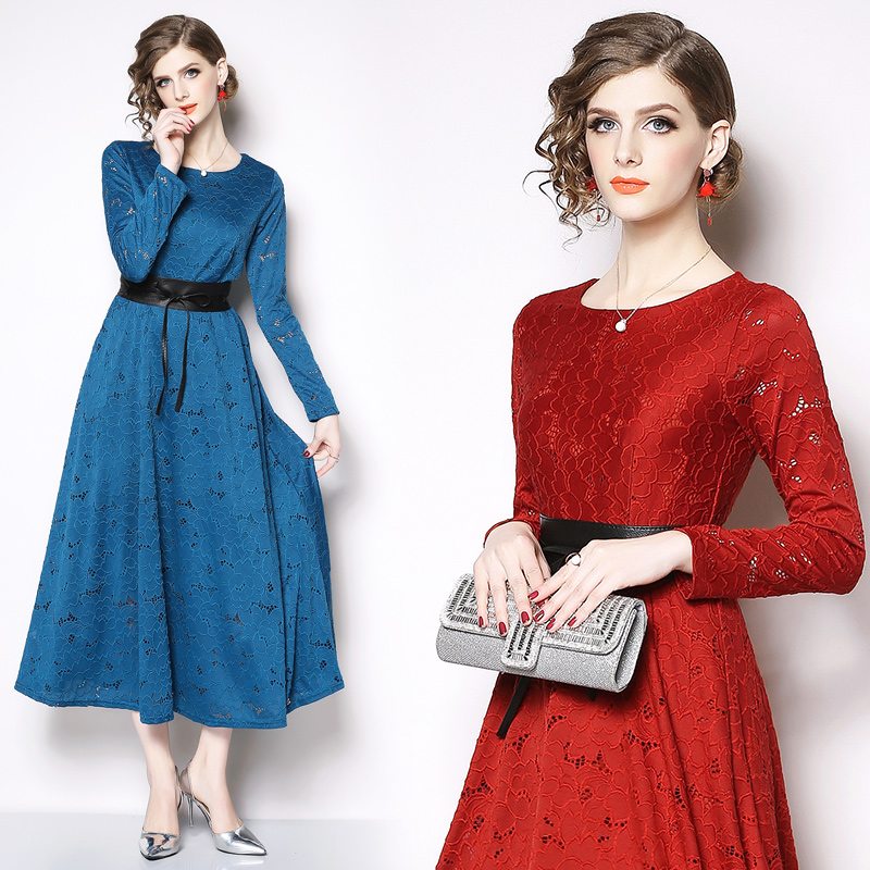 US $32.99 40% OFF|Western style Women\'s dress plus size long sleeves bridal  Mother\'s Dresses Lace formal party dress for Wedding vestido de noiva-in ...