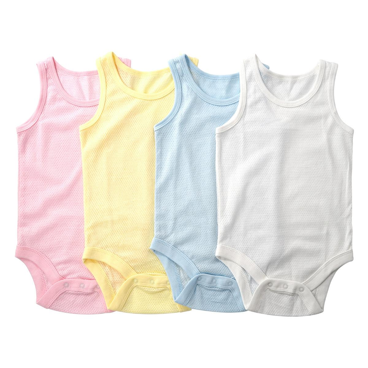 Newborn Baby Boys Girls Summer Thin Bodysuit Cute Baby Wear Vest Sports Breathable Cotton Mesh Clothes Infant Jumpsuit Pajamas