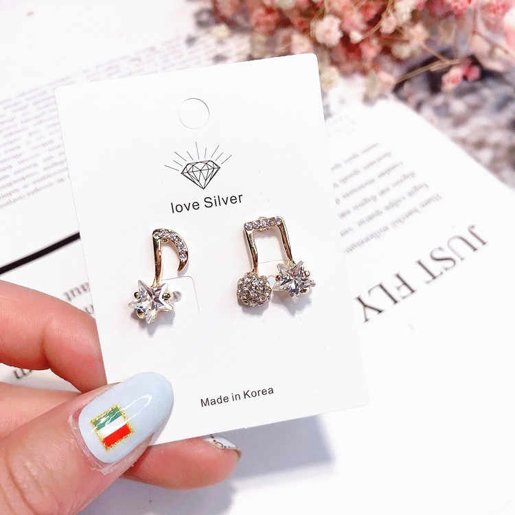 2018 Hot  Korean Fashion Rhinestone Musical Note Online Star Stud Earrings For Women Lovely Asymmetric Brincos