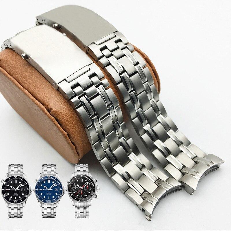 Relógio de Aço Strap para Omega Qualidade Merjust 22mm Prata Inoxidável Bandas Seamaster Planet Ocean Velocidademaster Cinto Aaa 316l 20mm