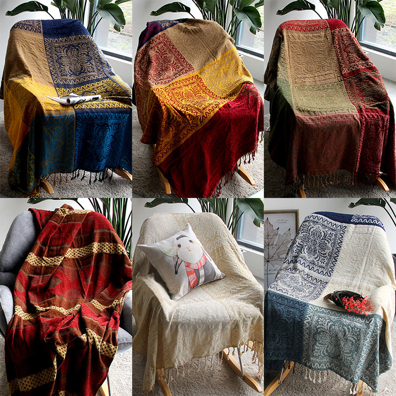 5 colors Colorful Bohemian Chenille Plaids Blanket Sofa Decorative Throws on Sofa/Bed large Cobertor Blanket With Tassel T176