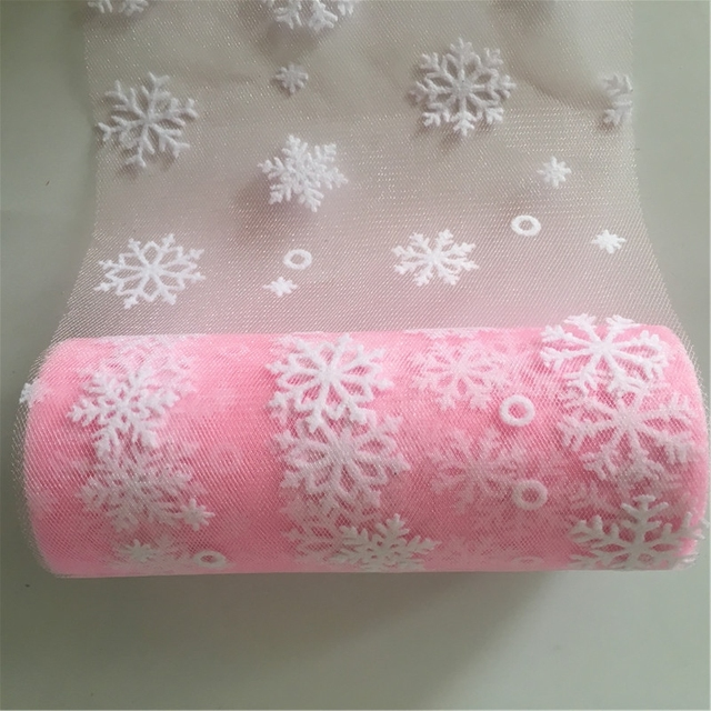 Wedding Snowflake Tulle Roll 10Y 15Cm Tulle Knit Sewing Mesh Fabric Diy Tutu Skirt Organza Birthday Party Christmas Decoration