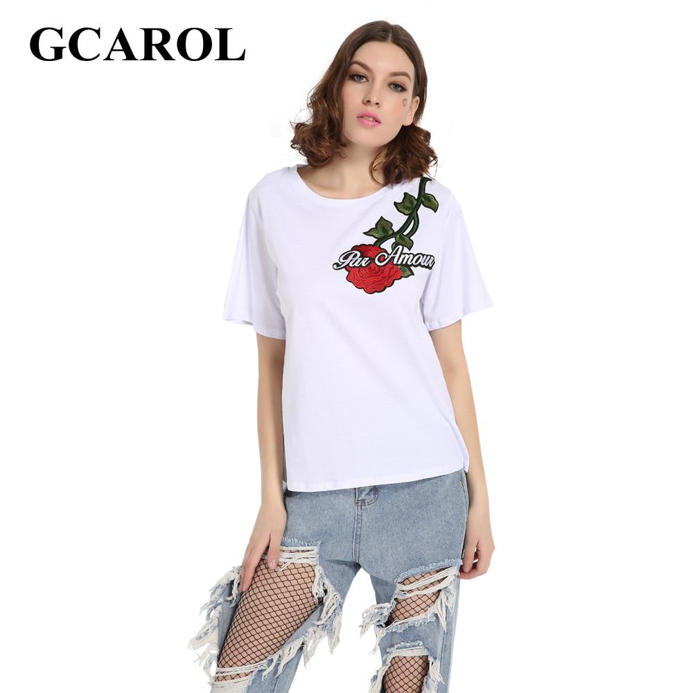 Gcarol women floral embroidery t shirt high quality