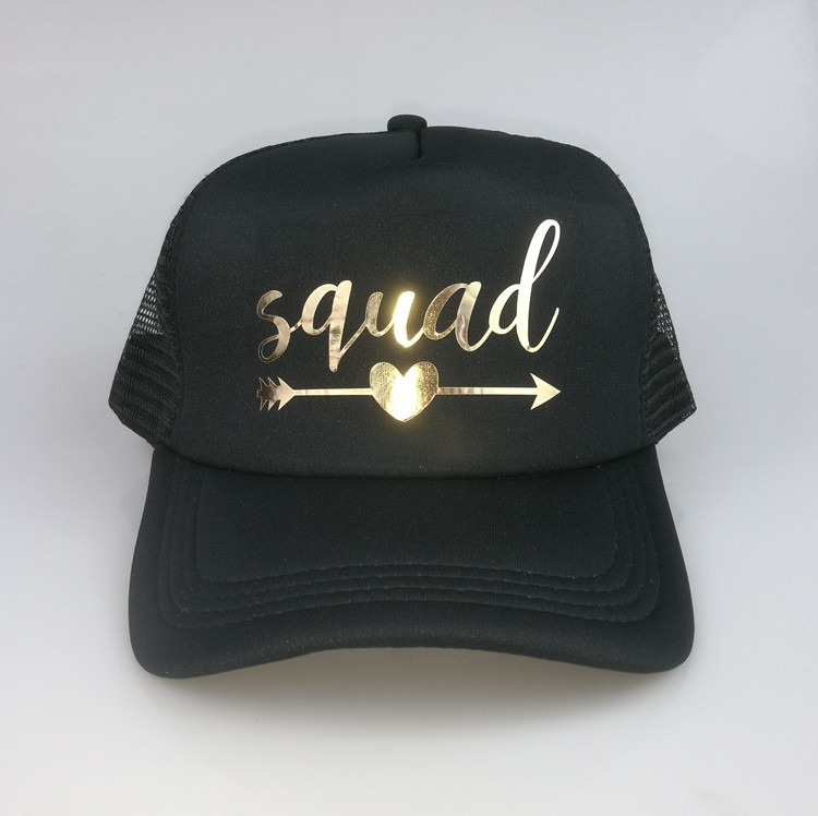 8e5310bdae2 C Fung BRIDE SQUAD Baseball Caps Hat Bride To Be Gold Arrow Trucker ...