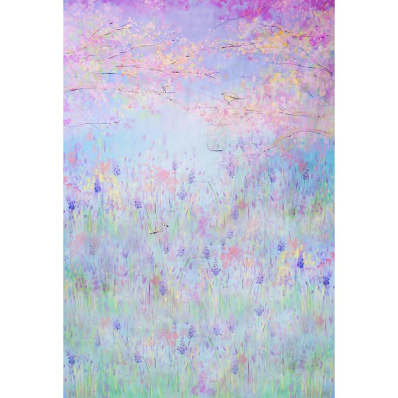 Custom vinyl cloth oil painted style floral field backgrounds for newborn portrait photo studio photography backdrops S-1207 custom vinyl cloth broken wall photo