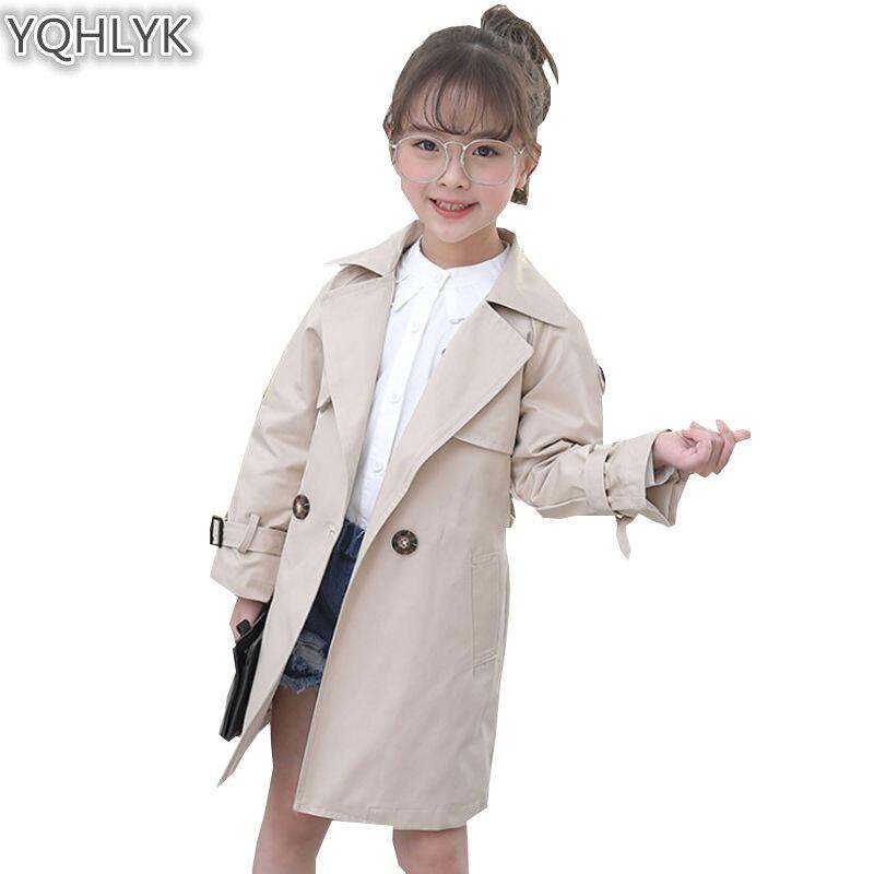 New Fashion Spring Autumn Girls Coat 2018 Korean Children Lapel Long Sleeve Windbreaker Jacket Casual Joker Kids Clothes W30 sophisticated style lapel ripple buttons long sleeve coat for women