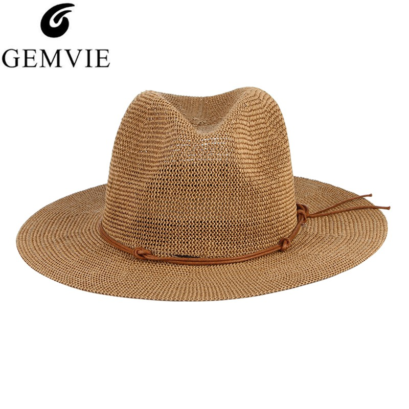 GEMVIE New Summer Hat Panama Hats Hollow Out Straw Hat For Men Women Leather Ribbon Large Brim Sun Beach Hat Jazz Cap Fedora
