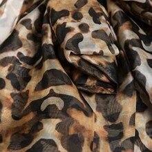 بلوزة شيفون جلد النمر أنيقة بأكمام طويلة واسعة