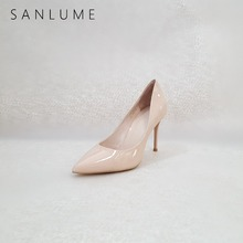 купить SANLUME Autumn Nude Patent Pumps Women Shoes Woman High Heels Ladies Sexy stiletto party shoes Genuine Leather Pointed Toe Heel дешево