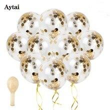 Aytai 10ks Svatební party Héliové balóny Zlaté balóny Confetti Jasné balóny Narozeniny Svatební dekorace 100 yard Stuha