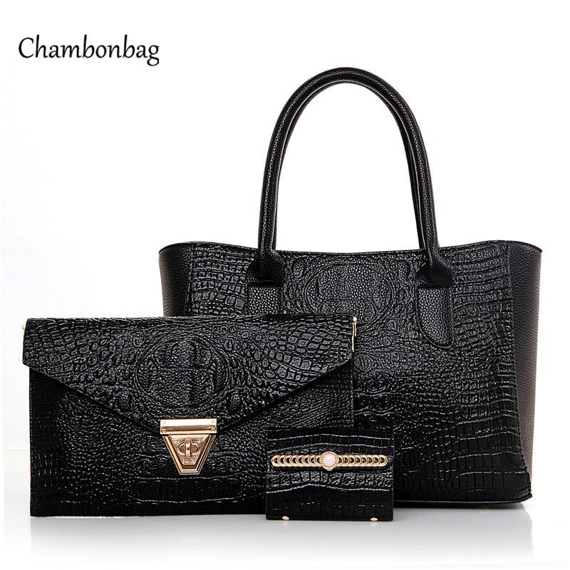 ФОТО 3 Pcs/Set Handbags Women Messenger Bags Female Purse Crocodile Shoulder Bags Office Lady Casual Tote 2016 New Top-Handle Bag N94