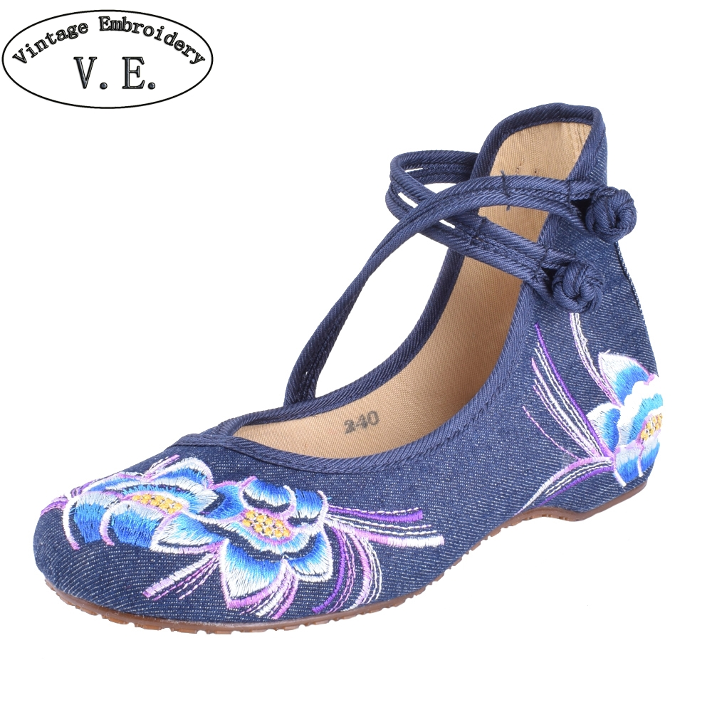 Women Flats Shoes Chinese Casual Canvas Flower Embroidered Mary Janes Walking Dance Ballet Shoes For Woman Plus Size 41 plus size 41 fashion women shoes old elegant art party beijing mary jane flats with casual shoes chinese style embroidered clo