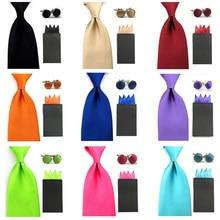 Men Solid Satin 8cm Wide Necktie 4 Fancy Folds Hanky Pocket Square Cufflinks Set BWSET0044