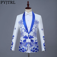 PYJTRL New Chinese Style Red Blue Fish Embroidery Blazer Slim Fit Designs Men Shawl Lapel Suit Jacket Stage Singer Wear Coat