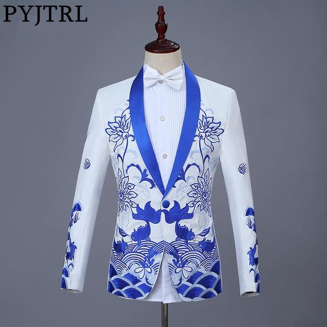 PYJTRL חדש סיני סגנון אדום כחול דגי רקמה בלייזר Slim Fit עיצובים גברים צעיף דש חליפת מעיל שלב זינגר ללבוש מעיל