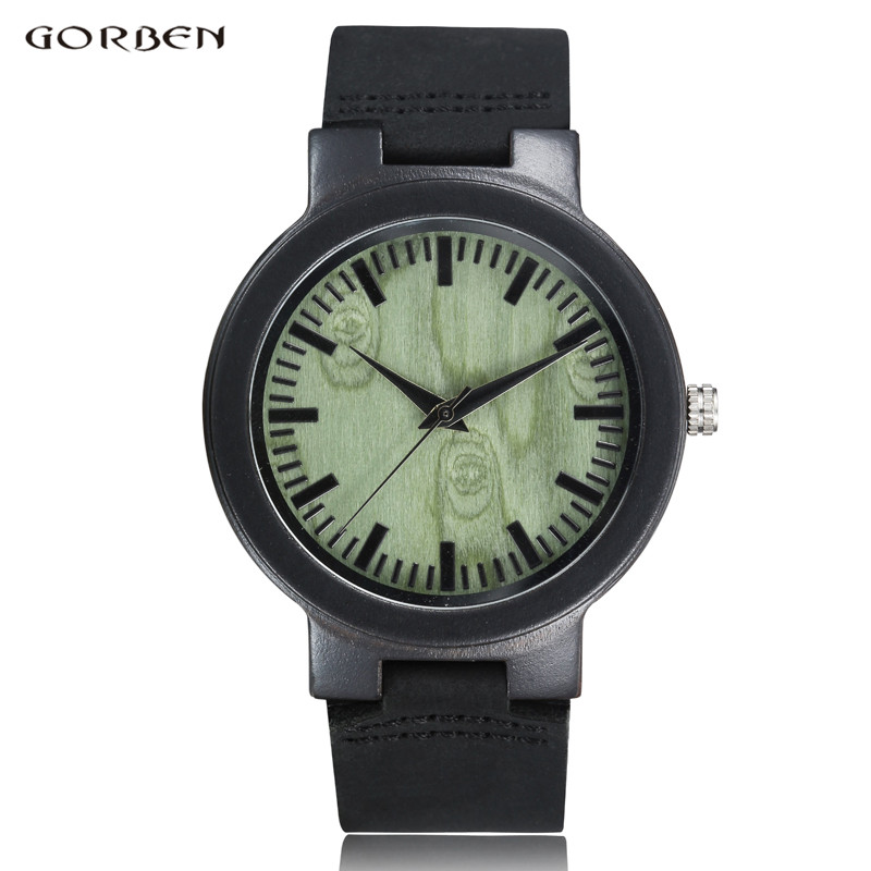 GORBEN Brand Natural Bamboo Quartz Wooden Mens Watch for Male Unique Design Wood Dial Leather Band
