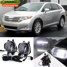 eeMrke Car Styling DRL For Toyota Venza 2009 + 2 in 1 Brighter LED Fog Light Lamp With Q5 Lens Daytime Running Lights
