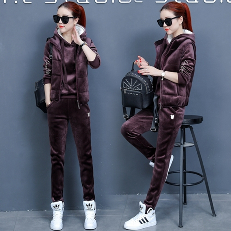 Sporting Suit Women 2018 Winter Thicken Sportswear Gold Velvet Hoodies+Pants+Vest 3 Piece Set Women Warm Tracksuits