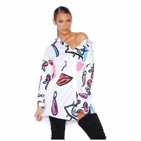 S XXXL HOT Floral Print Sexy Tops Blouse 2018 New Spring Long Sleeve Button Cardigan 2