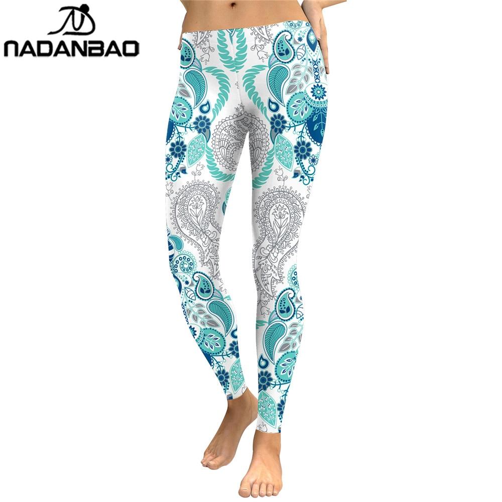 NADANBAO Bohemian Floral Leaf Leggings Women Digital Print Plus Size Fitness Legging Workout Push Up Leggins Skinny Elastic Pant