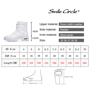 Image 3 - 2019 Winter boots Women Snow Boots Warm down shoes easy wear girl white Black zip Flat platform shoes Chunky Boots Smile Circle