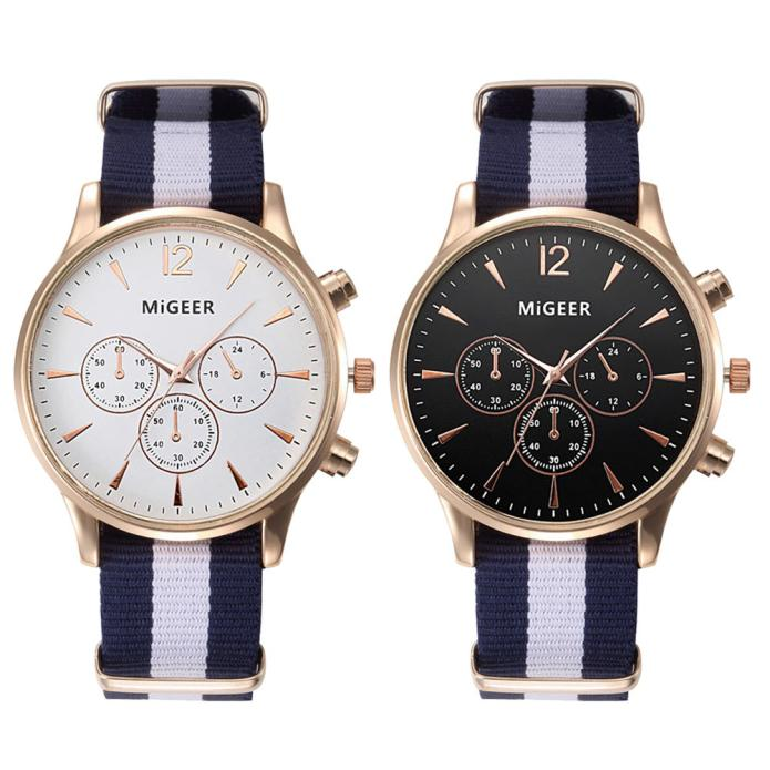 Miger Luxury Fashion Black & White Strap Watch Men Quartz Watch Casual Males Sport Business Wrist Men Watch,relogio masculino mike 8825 men s business casual analog quartz wrist watch silvery white black