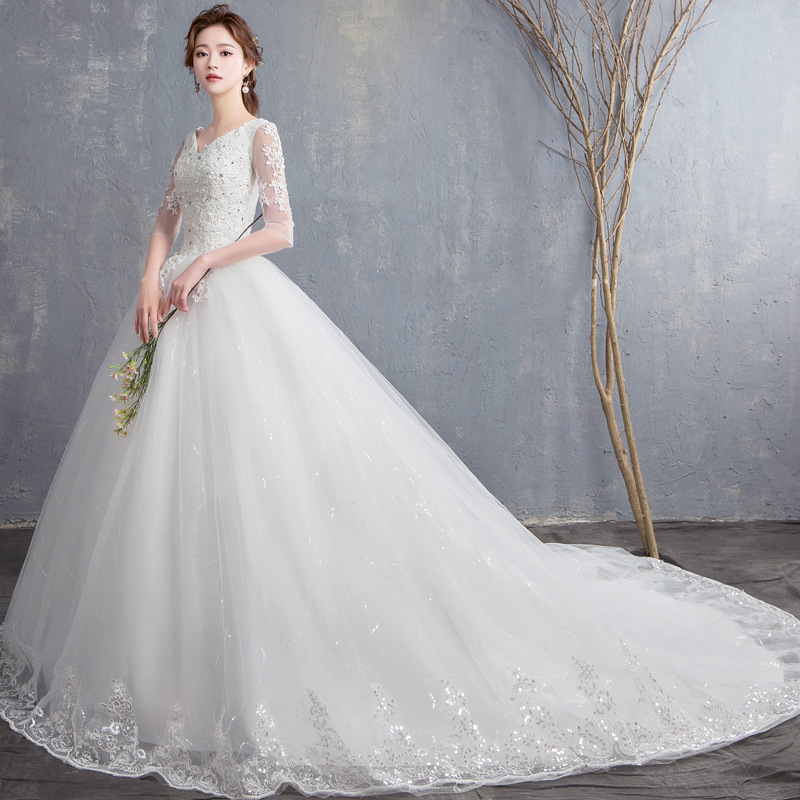 Wedding Dress 2020 New Fashion Sexy V Neck Sweep train Lace Appliques Half Sleeve Bridal Gowns Vestido De Novias Custom Made