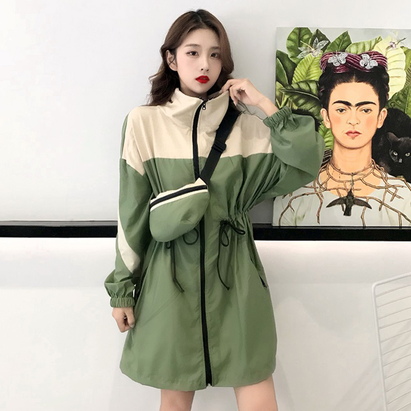 Trench   Women Stand Collar Patchwork Designs Drawstring Waist Waist Long Sleeve Windbreaker Coat Womens Chic Korean Style Loose