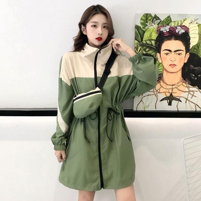 Hendek kadın standı yaka Patchwork tasarımlar İpli bel bel uzun kollu rüzgarlık ceket kadın Chic kore tarzı gevşek