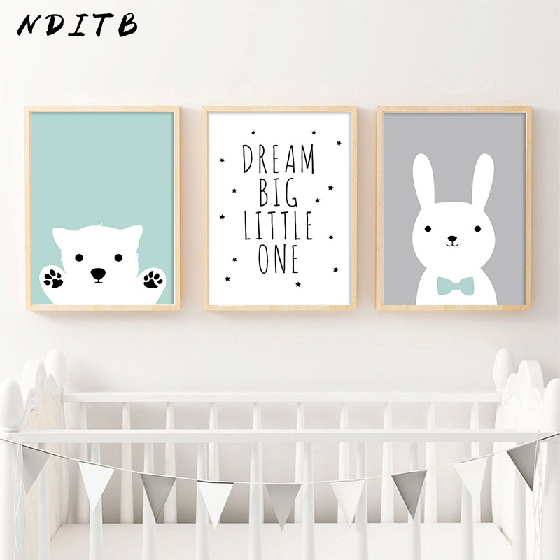 NDITB Kawaii Bear Rabbit Canvas Art Posters Woodland Animal Cartoon Nursery Prints Painting Wall Picture Baby Room Decoration