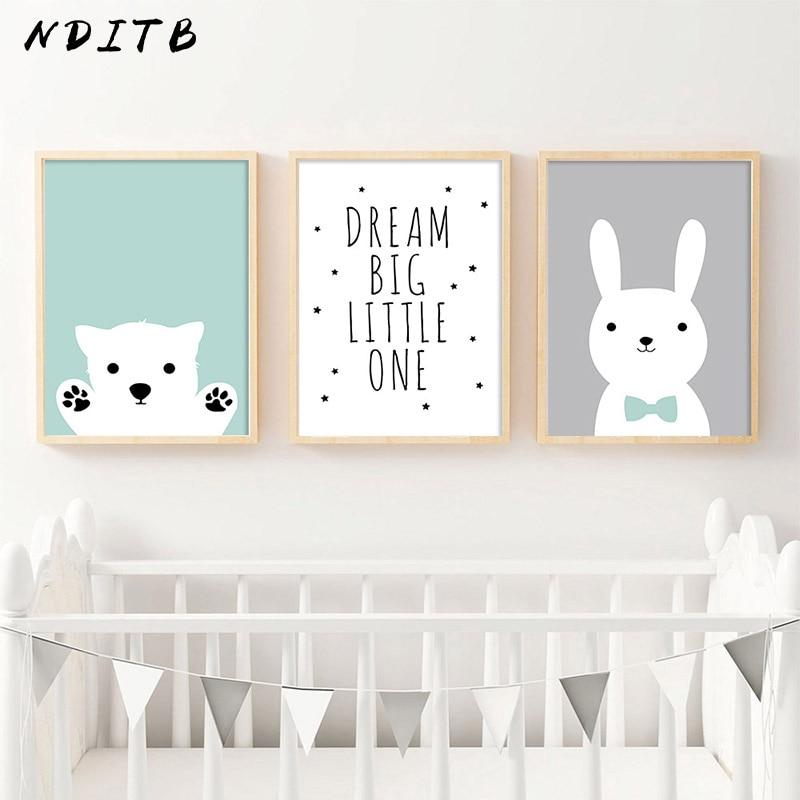Big Discount  NDITB Kawaii Bear Rabbit Canvas Art Posters Woodland Animal Cartoon Nursery Prints Painting Wall Pi