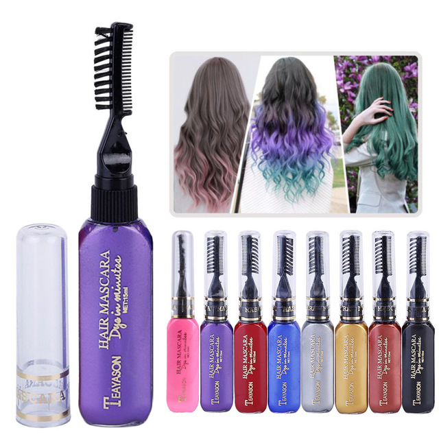 One-time Hair Color Dye Temporary Non-toxic DIY Hair Color Mascara Dye Cream Blue Grey Purple Hair Dye Pen Crayons for Hair