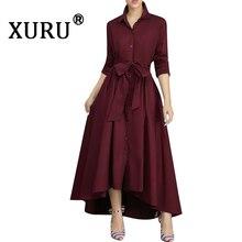 XURU 2019 autumn new womens shirt loose dress white wine red Tibetan blue fashion casual
