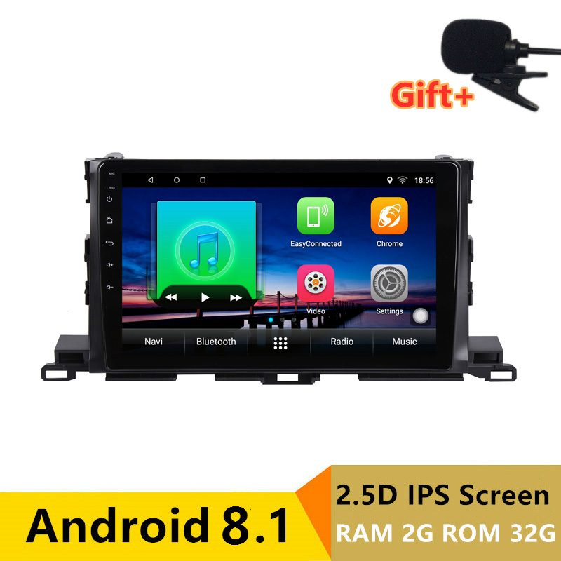 2+32G 2.5D IPS Android 8.1 Car DVD Multimedia Player GPS For Toyota Highlander 2015 2016 2017 audio radio stereo navigation