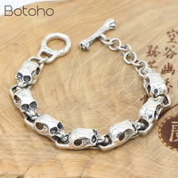 Pure 925 Sterling Silver Skeleton Skull Bracelets for Men Real Silver Punk Vintage Skull Chain Bracelets Jewelry Birthday Gifts