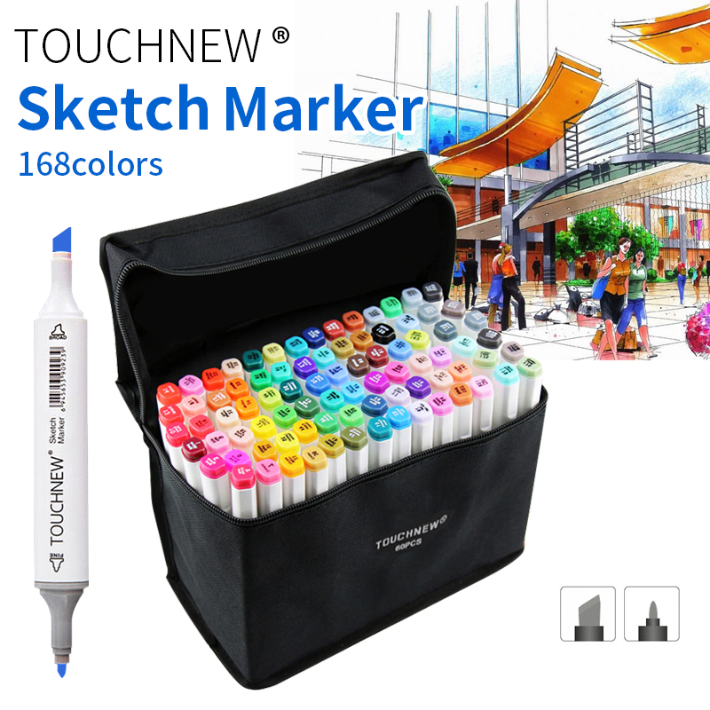 TOUCHNEW 30/40/60/80 Color Dual Head Animation Marker Pen Drawing Sketch Pens Art Markers Alcohol Based Art Supplies With Gifts