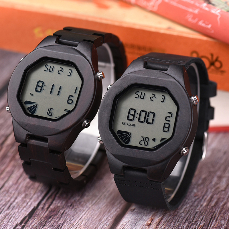 BOBO BIRD L-Q06 LED Wooden Digital Watch Men Ebony Wood Case Kol Saati OEM