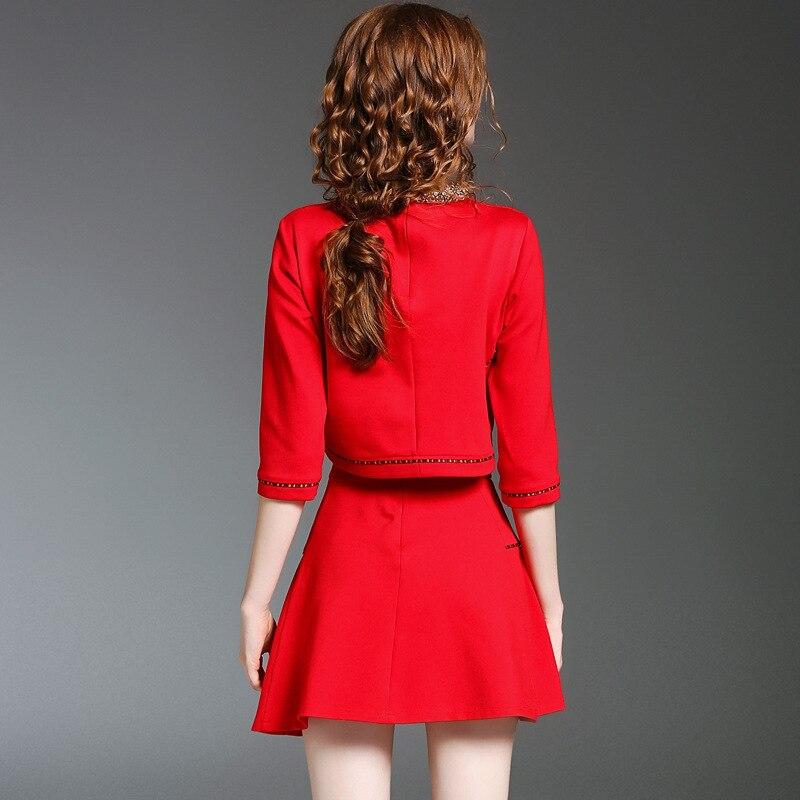 noir Collier Conception 2017 Ensembles Haute Tops Qualité Courte Costume De Jupe Rouge Mini Oycp Femmes A Perles ligne 8WUqTxCwwX