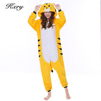 2017 New Hot Sales Unisex Flannel Animal Pajamas Adult Tiger Pajamas Winter Cartoon Cosplay Warm Sleepwear