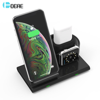 DCAE 3 in 1 10W Qi Wireless Charger For iPhone XS XR X 8 Samsung S10 S9 Fast Charging Dock Station for Apple Watch Airpods Stand