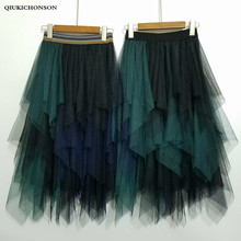 Autumn Winter High Waist Tulle Skirts Women Korean Fashion Ladies Elastic Asymmetrical Long Tutu jupe tulle femme