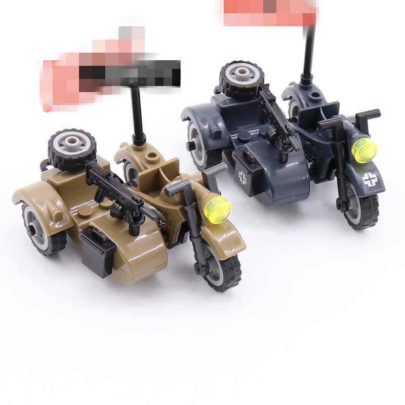 Legoing Blocks Military MOC Motorcycle WW2 Set Sale Building Blocks Toys For Children Assemble Block Army SWAT
