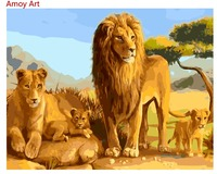 Abstract Frameless Oil Paint DIY Painting By Numbers Coloring By Numbers African Lion Family Home Decoration