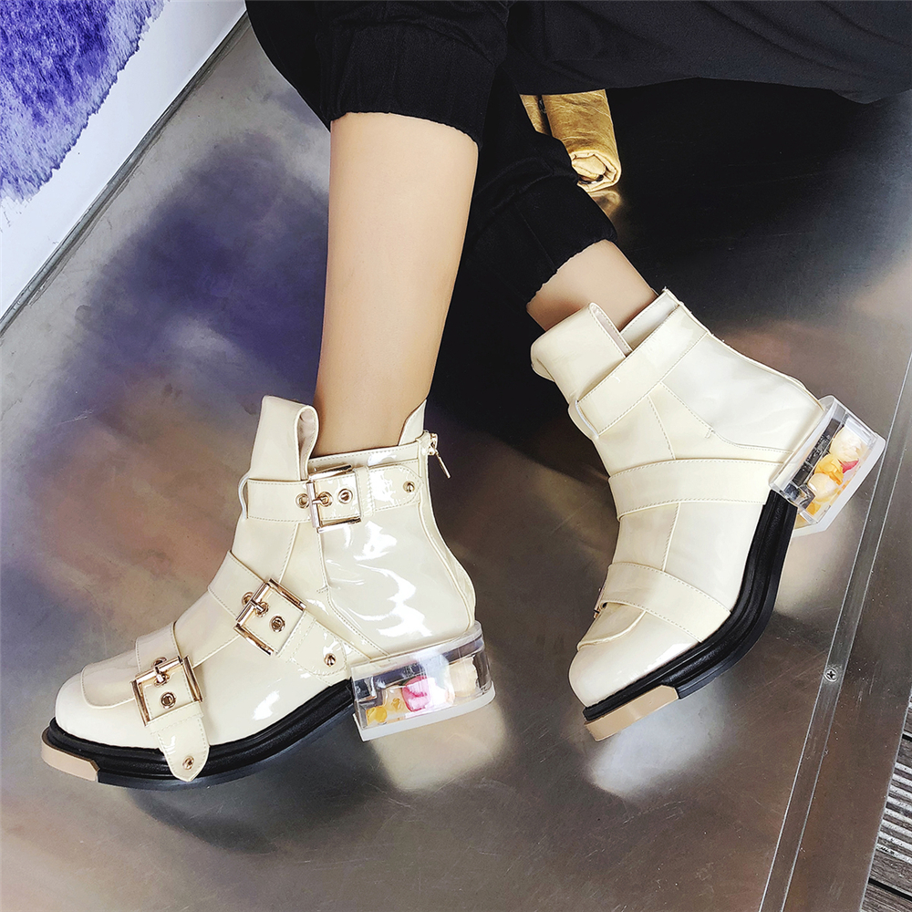 Mstacchi New Designer Flowers Clear Low Heel Ankle Boots Zip Buckle Motorcyle Boots Platform Genuine Leather Short Botas Mujer