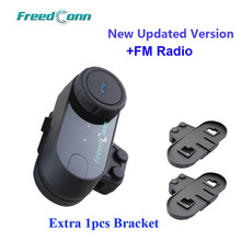 Обновленная версия! FreedConn T-COM VB Bluetooth BT шлем домофон гарнитура с FM радио + Дополнительные шт. 1 шт. кронштейн